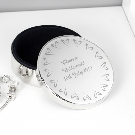 Personalised Small Hearts Round Trinket Box