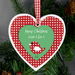 Personalised Christmas Bird Design Wooden Heart Shaped Decoration & Keepsake