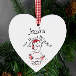 Personalised 1st Christmas Teddy Design Wooden Heart Shaped Decoration