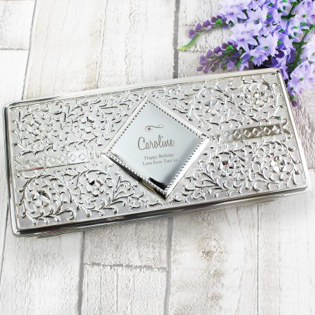 Personalised Swirls & Hearts Antique Silver Plated Jewellery Box