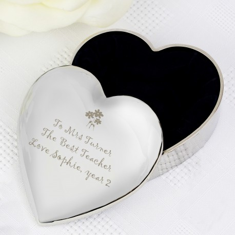 Personalised Teacher Heart Flowers Trinket Box