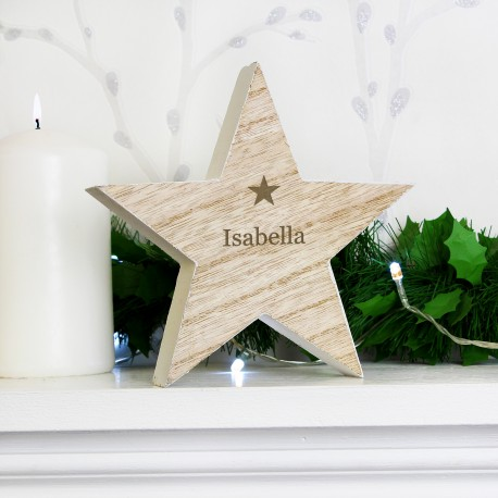 Personalised (Any Name) Rustic Wooden Star Decoration & Keepsake