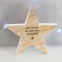 Personalised Star Motif Rustic Wooden Star Christmas Decoration & Keepsake