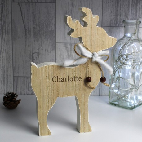Personalised (Any Name) Rustic Wooden Reindeer Decoration