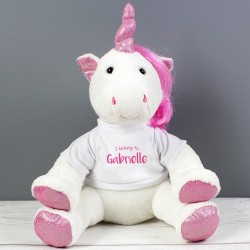 Personalised 'I Belong To' Plush Unicorn