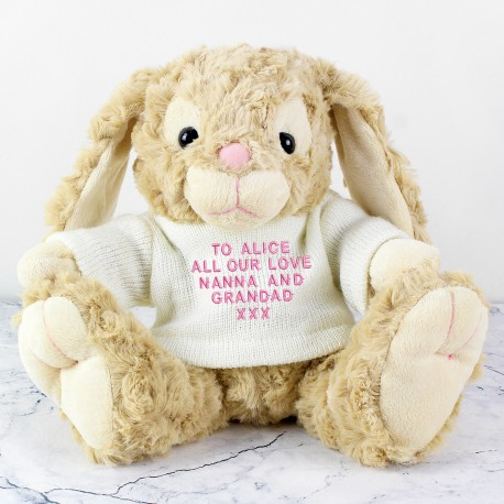 Personalised Message Bunny - Pink Embroidery