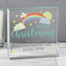 Personalised 'On Your Christening' Large Crystal Token