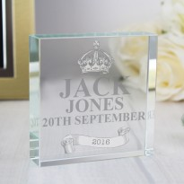 Personalised Royal Crown Large Crystal Token