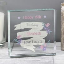 Personalised Garden Bloom Large Crystal Token