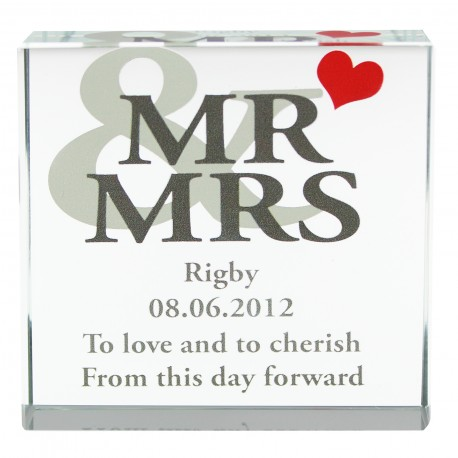 Personalised Mr & Mrs Large Crystal Token with Heart