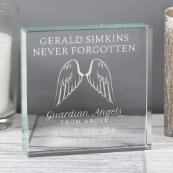 Personalised Guardian Angel Wings Large Crystal Token