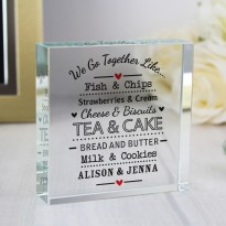 Personalised We Go Together Like... Large Crystal Token