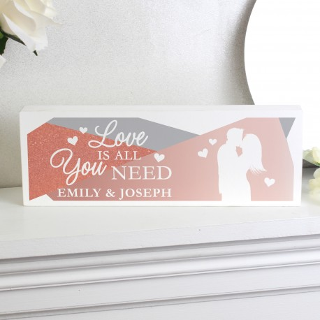 Personalised 'Love is All You Need' Wooden Block Sign