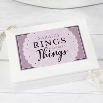 Personalised Lilac Lace 'Rings and Sparkly Things' Jewellery Box