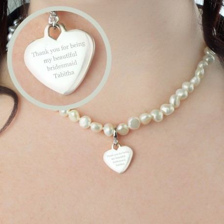Personalised White Freshwater Pearl Message Necklace