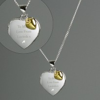 Personalised Sterling Silver, Gold & Diamond Heart Locket Necklace