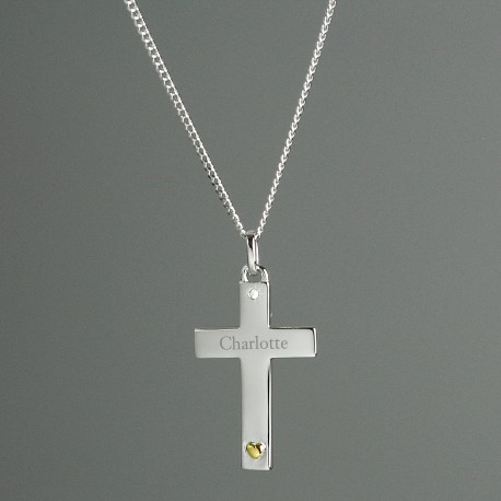 Personalised Sterling Silver Cross with 9ct Gold Heart and CZ Necklace