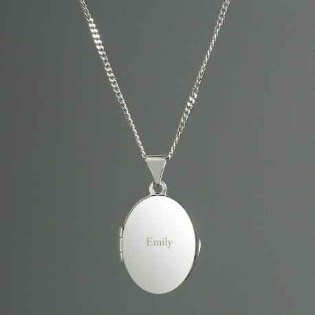 Personalised Sterling Silver Engraved Name Oval Locket Necklace