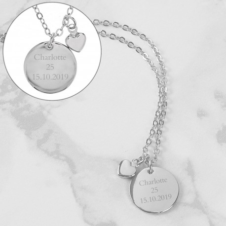 Personalised Silver Coloured Disc and Heart Charm Necklace