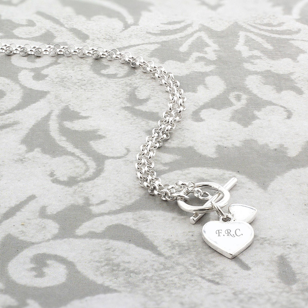 69412d861b8 Sterling Silver Personalised Hearts T-Bar Necklace | Necklace