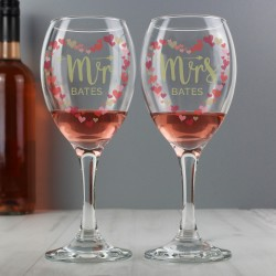Personalised Mr and Mrs Valentine's Day Confetti Hearts Pair of Wine Glasses