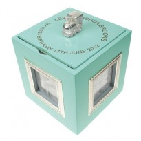Blue Musical Keepsake Box with Photo Frames