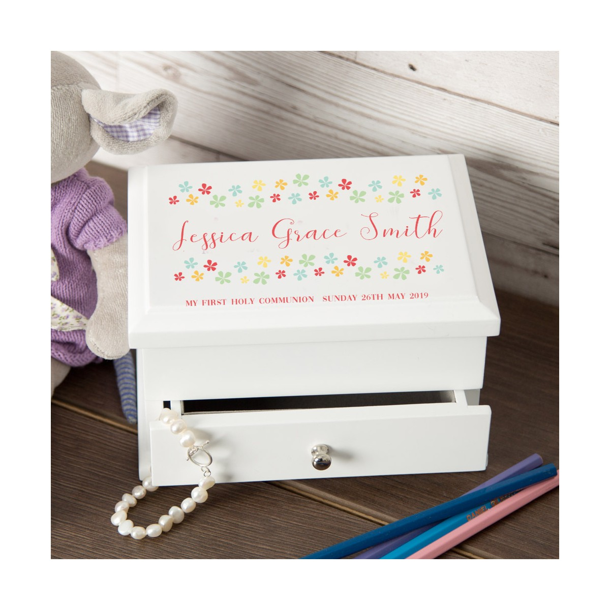 Floral Design My 1st Holy Communion Personalised Jewellery Box
