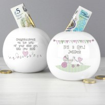 Personalised Whimsical Pram It's a Girl Money Box