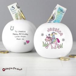 Personalised Bang on the Door Pony Girl Money Box