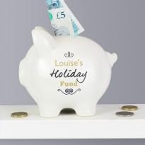 Personalised Black Swirl Piggy Bank