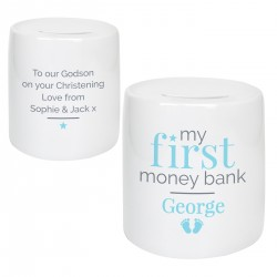 Personalised Blue 'My First' Ceramic Money Bank