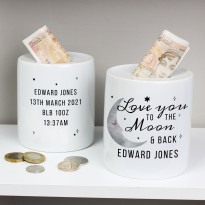 Personalised 'To the Moon and Back' Ceramic Money Box