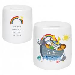 Personalised Noah's Ark Ceramic Money Box