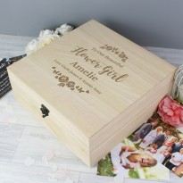 Personalised Flower Girl Large Wooden Keepsake Box 'Floral Watercolour Wedding'