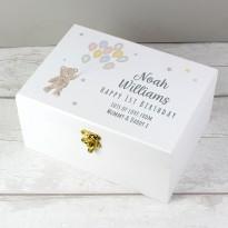 Personalised Teddy & Balloons White Wooden Keepsake Box