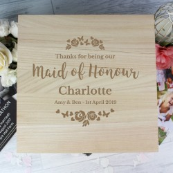 Personalised Maid of Honour Large Wooden Keepsake Box 'Floral Watercolour Wedding'