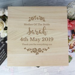 Personalised Mother of The Bride Large Wooden Keepsake Box 'Floral Watercolour Wedding'